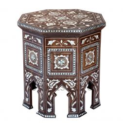 Arab culture inspires the beautiful pattern that details this Syrian table. Engraved with mother of pearl, the extreme diligence that went into carving the Rain table is wholly obvious.